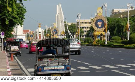 Bangkok, Thailand - 11 July, 2019: Rush Hour Traffic Near Democracy Monument In Capital. Famous Asia