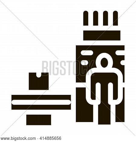 Manufacturing Machine Operator Glyph Icon Vector. Manufacturing Machine Operator Sign. Isolated Symb