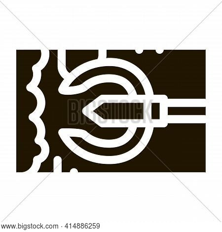 Drain Cleaning Tool In Pipe Glyph Icon Vector. Drain Cleaning Tool In Pipe Sign. Isolated Symbol Ill