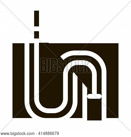 Drain Pipe Cleaning Equipment Glyph Icon Vector. Drain Pipe Cleaning Equipment Sign. Isolated Symbol