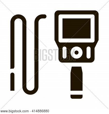 Drain Cleaning Electronic Device Glyph Icon Vector. Drain Cleaning Electronic Device Sign. Isolated