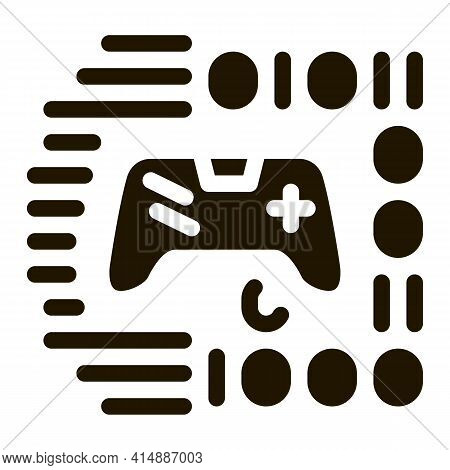 Game Development Binary Code Glyph Icon Vector. Game Development Binary Code Sign. Isolated Symbol I
