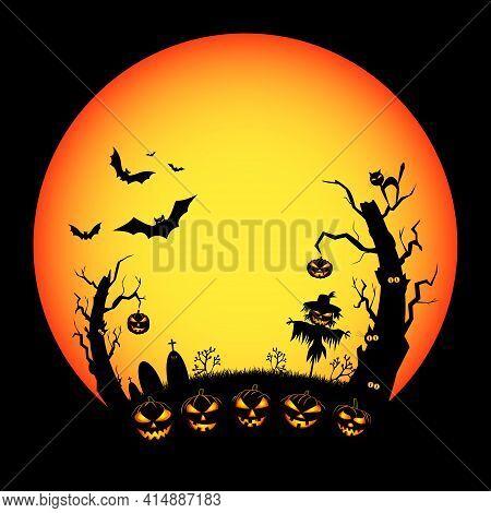 Cartoon Halloween Eve Night Scene. Pumpkins With Burning Eyes. Big Red Moon. Bats In Flight. Old Tre
