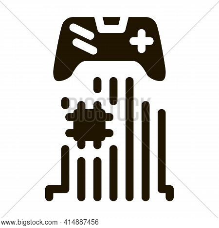 Game Controller Chip Glyph Icon Vector. Game Controller Chip Sign. Isolated Symbol Illustration