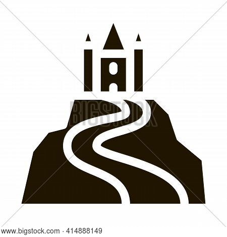 Castle On Hill Glyph Icon Vector. Castle On Hill Sign. Isolated Symbol Illustration