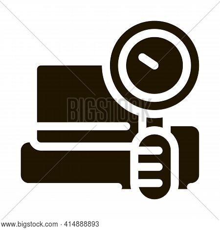 Watch Measuring Heartbeat Glyph Icon Vector. Watch Measuring Heartbeat Sign. Isolated Symbol Illustr