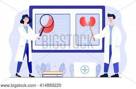 Male And Female Doctors In White Robes At The Meeting. Diagnosis And Treatment Of Diseases. Man And