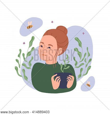 Young Woman With A Potted Plant Gardening At Home. The Girl Grows Flowers. Isolated Vector Illustrat