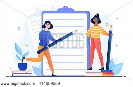 Two Female Professional Writers Are Standing Next To Clipboard With Pencil. Concept Of Creative Peop