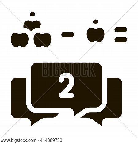 Preschool Education Mathematics Glyph Icon Vector. Preschool Education Mathematics Sign. Isolated Sy