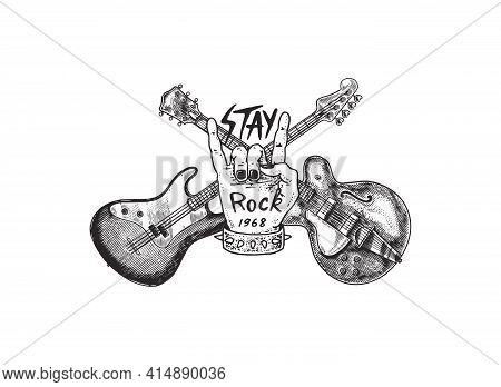 Guitar And Sign Of The Horns For Jazz Festival. Hand Drawn Grunge Sketch With A Tattoo Or T-shirt Or