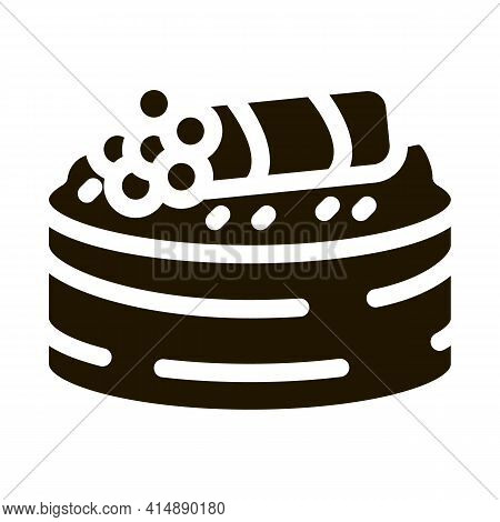 Sushi Roll With Caviar Glyph Icon Vector. Sushi Roll With Caviar Sign. Isolated Symbol Illustration