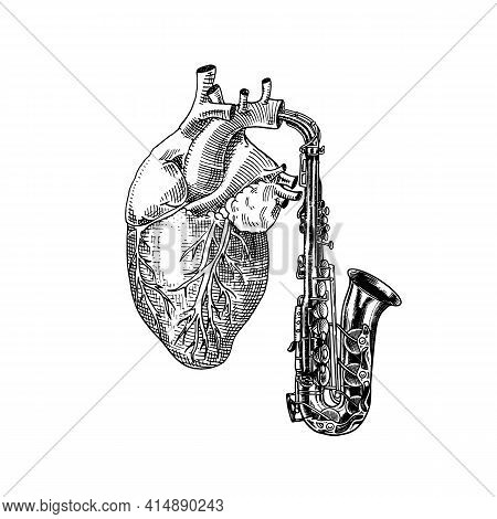 Music Of The Heart In Vintage Style. Jazz Saxophone. Hand Drawn Grunge Sketch For Tattoo Or T-shirt