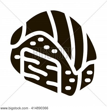 Sushi Roll With Salmon Glyph Icon Vector. Sushi Roll With Salmon Sign. Isolated Symbol Illustration