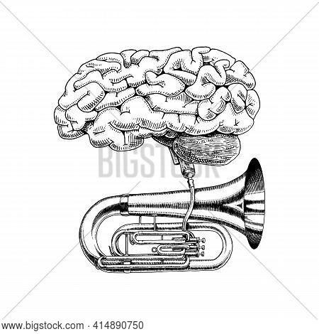 Music And Brain In Vintage Style. Jazz Tuba Or Trumpet. Hand Drawn Grunge Sketch For Tattoo Or T-shi