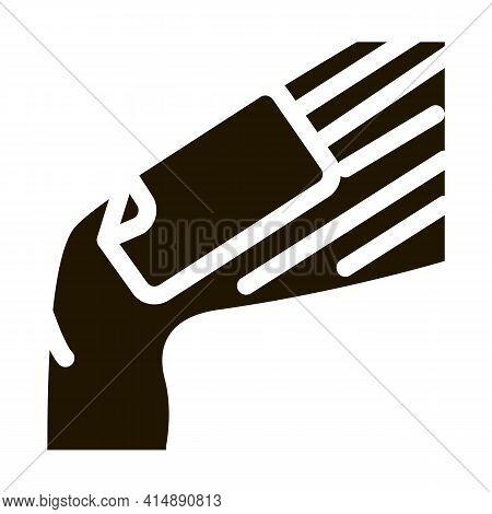 Wax Stripe Leg Depilation Glyph Icon Vector. Wax Stripe Leg Depilation Sign. Isolated Symbol Illustr
