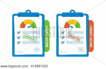 Credit Score Range Meter. Two Agreements For The Agreement On The Approval And Refusal Of The Loan.