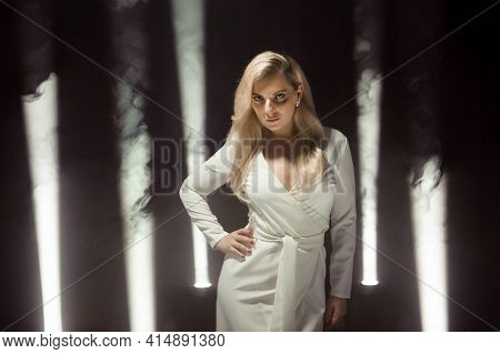 Woman White Dress, Fashion Plus Size Model In Long White Gown, Girl Standing Over Dark Background In