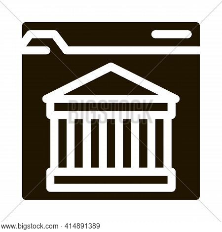 Ancient Building On Web Site Glyph Icon Vector. Ancient Building On Web Site Sign. Isolated Symbol I