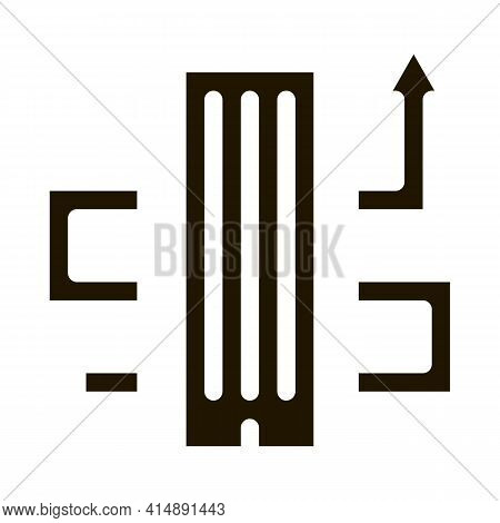 Skyscraper And Growing Arrow Glyph Icon Vector. Skyscraper And Growing Arrow Sign. Isolated Symbol I
