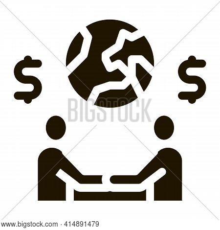 International Partnership Businessman Handshake Glyph Icon Vector. International Partnership Busines