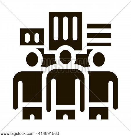 Business Team And City Buildings Glyph Icon Vector. Business Team And City Buildings Sign. Isolated