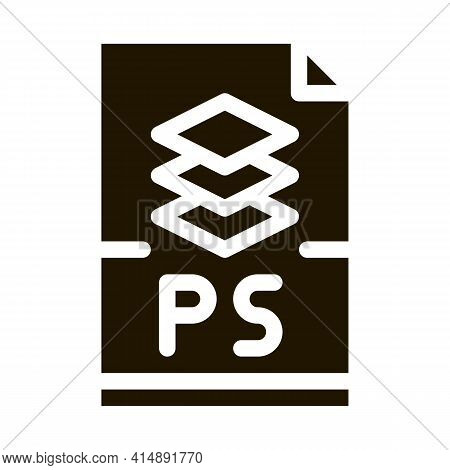 Ps File Layered Drawing Glyph Icon Vector. Ps File Layered Drawing Sign. Isolated Symbol Illustratio