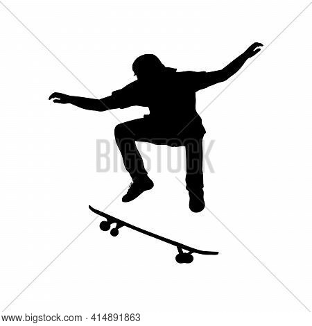 Silhouette Teenage Boy Skateboarder Jumping. Illustration Graphics Icon Vector