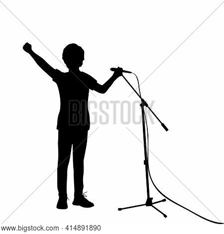 Silhouette Teenage Boy Singing Into Microphone. Illustration Graphics Icon Vector