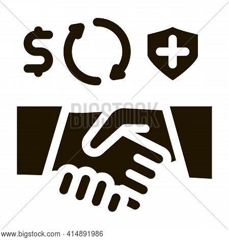 Health Insurance Buy Handshake Glyph Icon Vector. Health Insurance Buy Handshake Sign. Isolated Symb