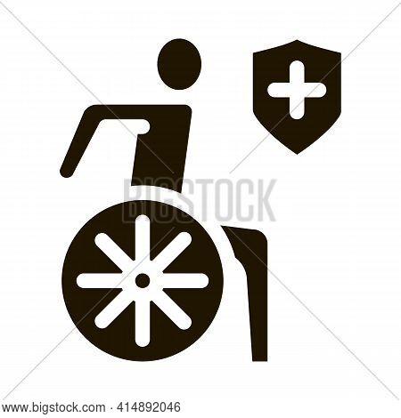 Ilness Human On Wheelchair Glyph Icon Vector. Ilness Human On Wheelchair Sign. Isolated Symbol Illus