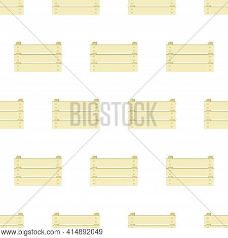 Wooden Box Icon Isolated Seamless Pattern On White Background, Grocery Basket, Storehouse Crate, Emp