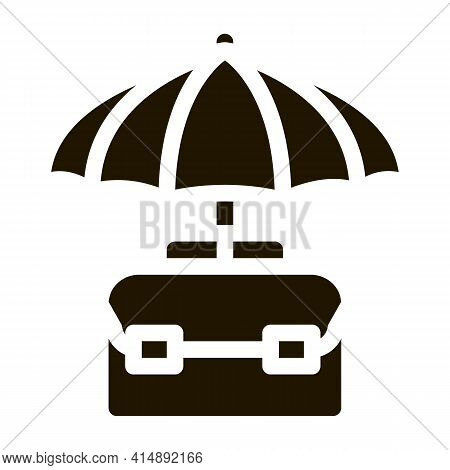 Business Case Protect With Umbrella Glyph Icon Vector. Business Case Protect With Umbrella Sign. Iso
