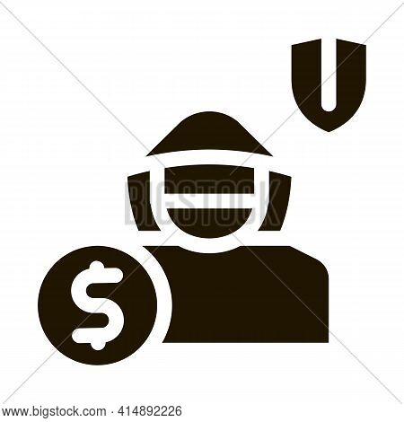 Anti Thief Insurance Glyph Icon Vector. Anti Thief Insurance Sign. Isolated Symbol Illustration