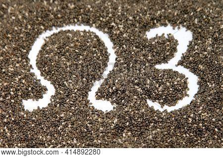 Chia (salvia Hispanica) Seed Background With Symbol  Omega 3
