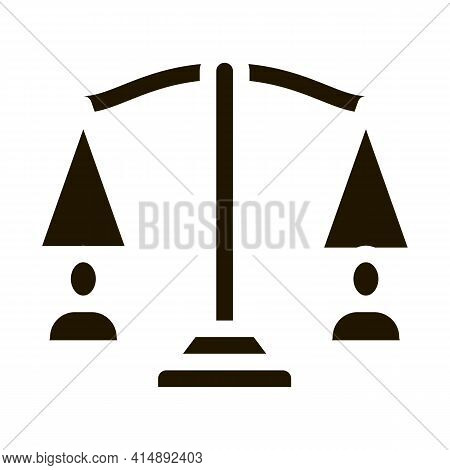 Huma Rights Balance On Scales Glyph Icon Vector. Huma Rights Balance On Scales Sign. Isolated Symbol