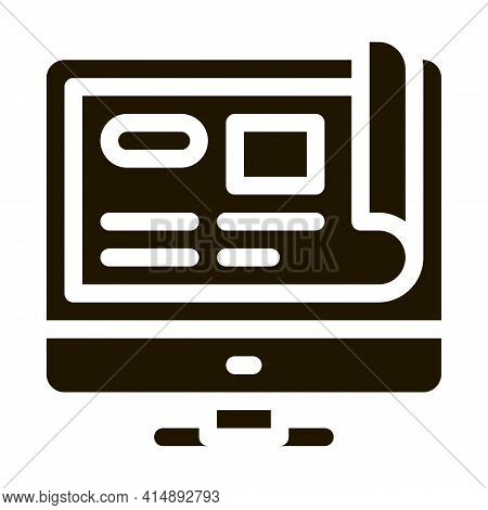 Web Site Project Glyph Icon Vector. Web Site Project Sign. Isolated Symbol Illustration