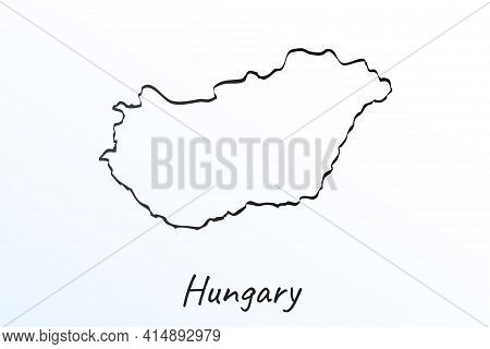 Hand Draw Map Of Hungary. Black Line Drawing Sketch. Outline Doodle On White Background. Handwriting