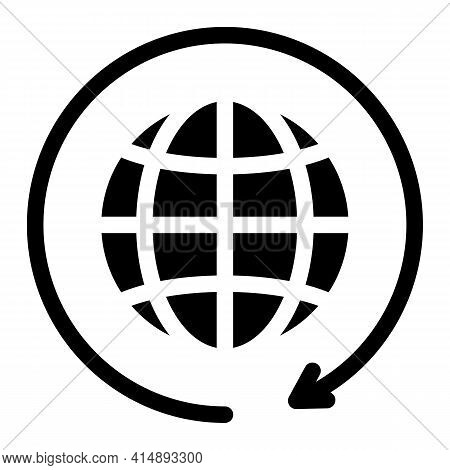 Earth Turn Glyph Icon Vector. Earth Turn Sign. Isolated Symbol Illustration
