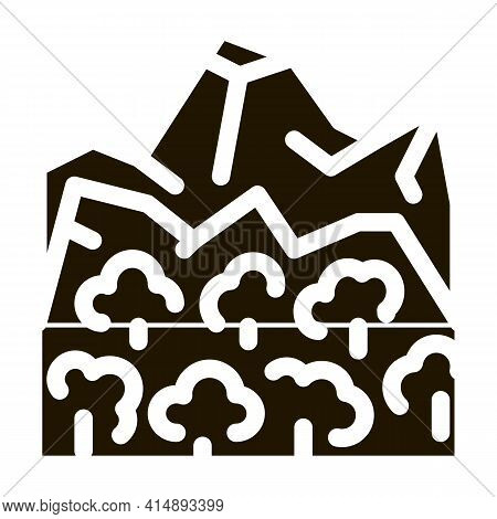 Jungle Forest And Mountain Glyph Icon Vector. Jungle Forest And Mountain Sign. Isolated Symbol Illus
