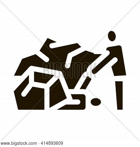 Saving Human From Rubble Glyph Icon Vector. Saving Human From Rubble Sign. Isolated Symbol Illustrat