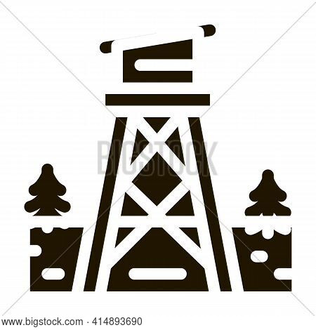 Rescue Forest Tower Glyph Icon Vector. Rescue Forest Tower Sign. Isolated Symbol Illustration