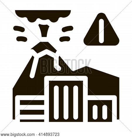 Volcanic Eruption Glyph Icon Vector. Volcanic Eruption Sign. Isolated Symbol Illustration