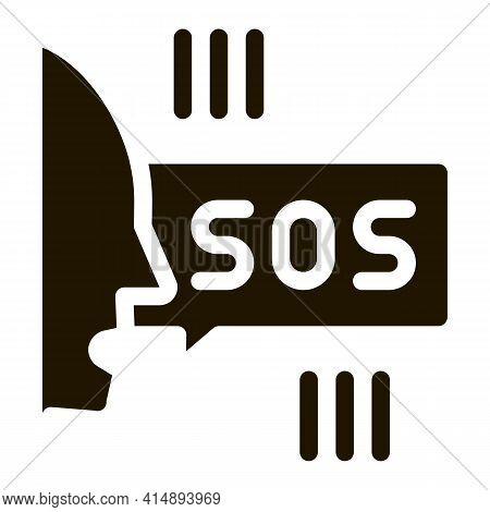 Human Screaming Sos Glyph Icon Vector. Human Screaming Sos Sign. Isolated Symbol Illustration