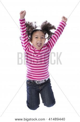 Little Girl Jumping With Joy