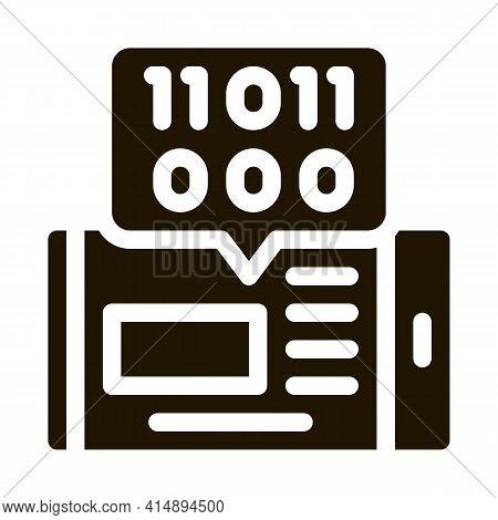 Phone App Binary Code Glyph Icon Vector. Phone App Binary Code Sign. Isolated Symbol Illustration
