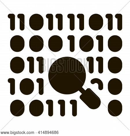 Research Binary Code Glyph Icon Vector. Research Binary Code Sign. Isolated Symbol Illustration