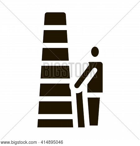 Human With Ladder Glyph Icon Vector. Human With Ladder Sign. Isolated Symbol Illustration