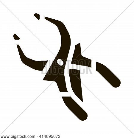 Clamp Worker Tool Glyph Icon Vector. Clamp Worker Tool Sign. Isolated Symbol Illustration