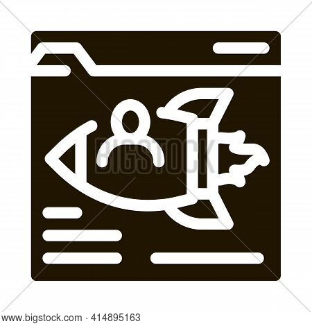 Web Site Find Fast Job Glyph Icon Vector. Web Site Find Fast Job Sign. Isolated Symbol Illustration